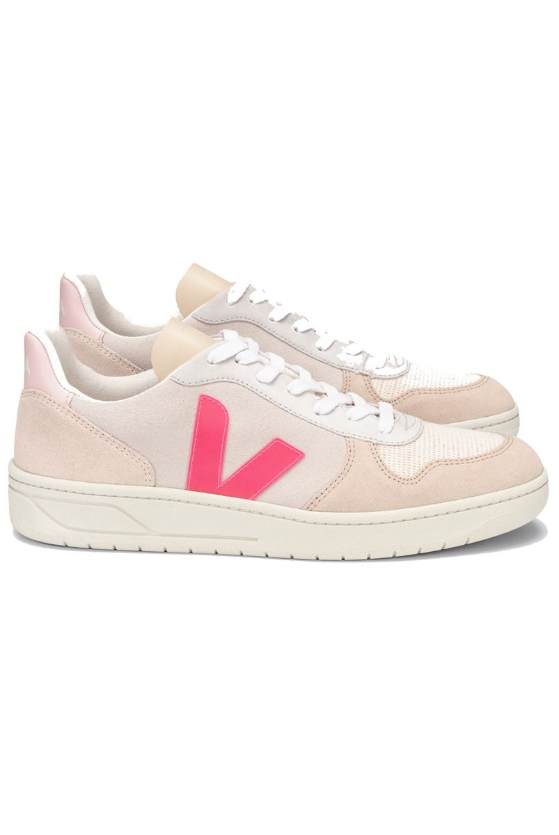 Veja V-10 SUEDE TRAINERS - MULTICO NATURAL ROSE FLUO
