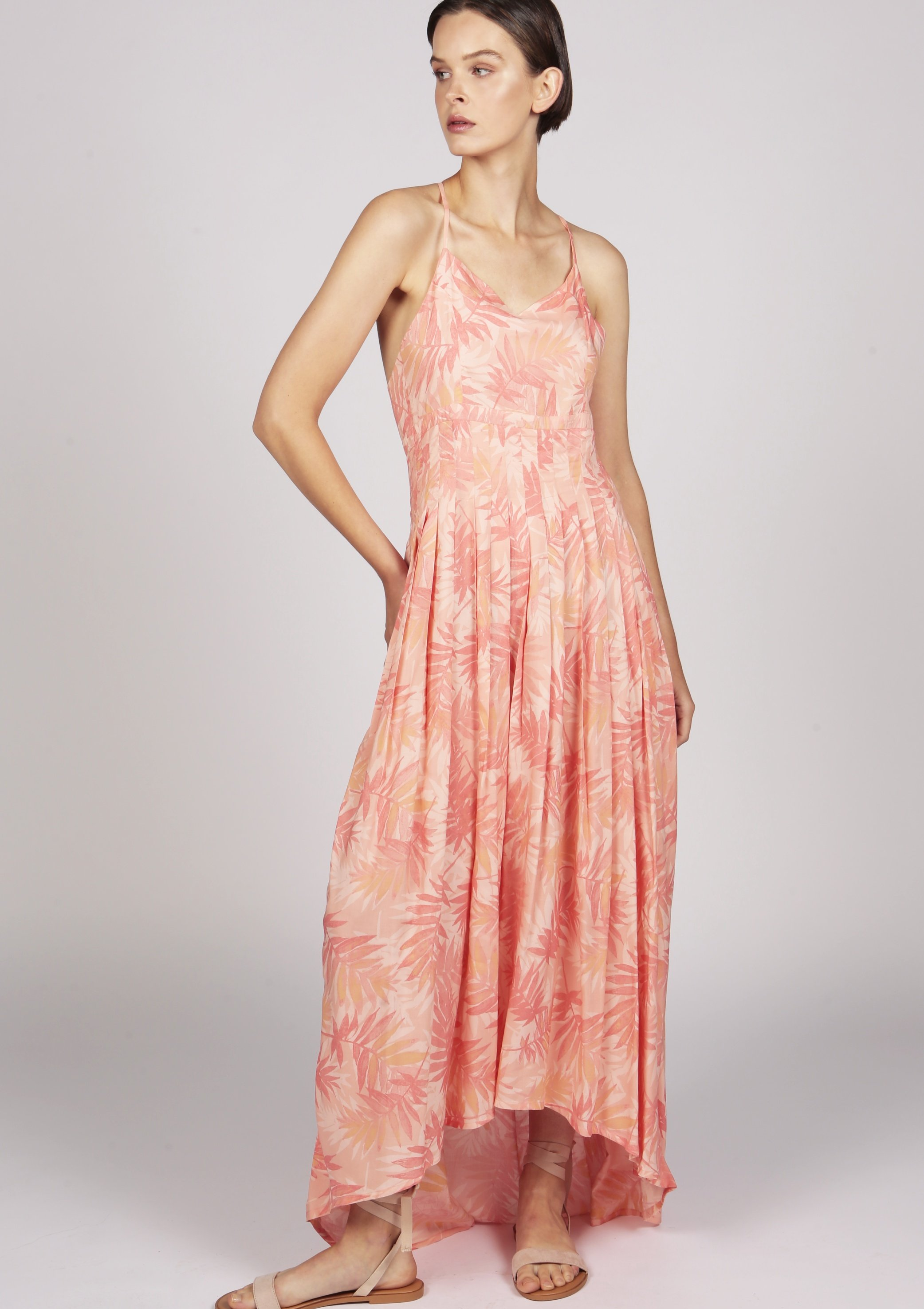 Marguerite printed pink pleated dip-hem maxi cocktail dress