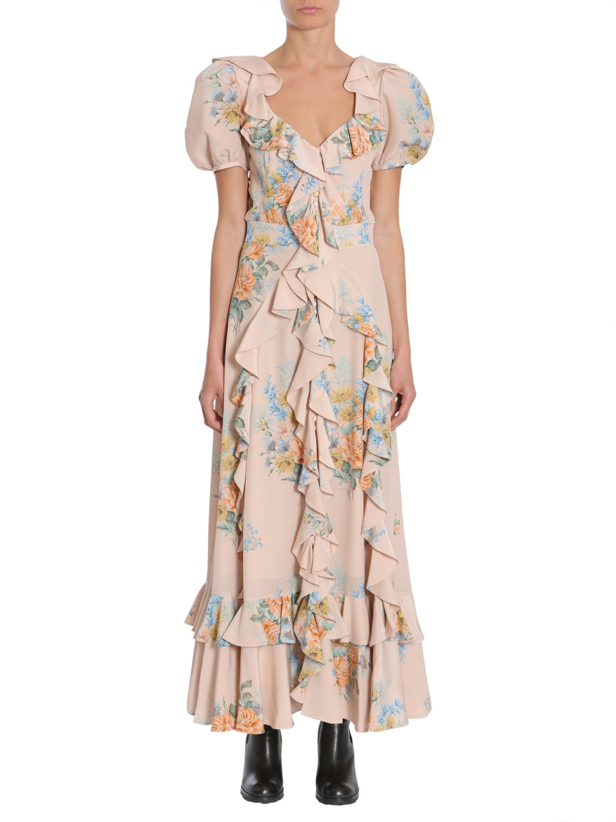 FLORAL PRINT RUCHED SILK DRESS