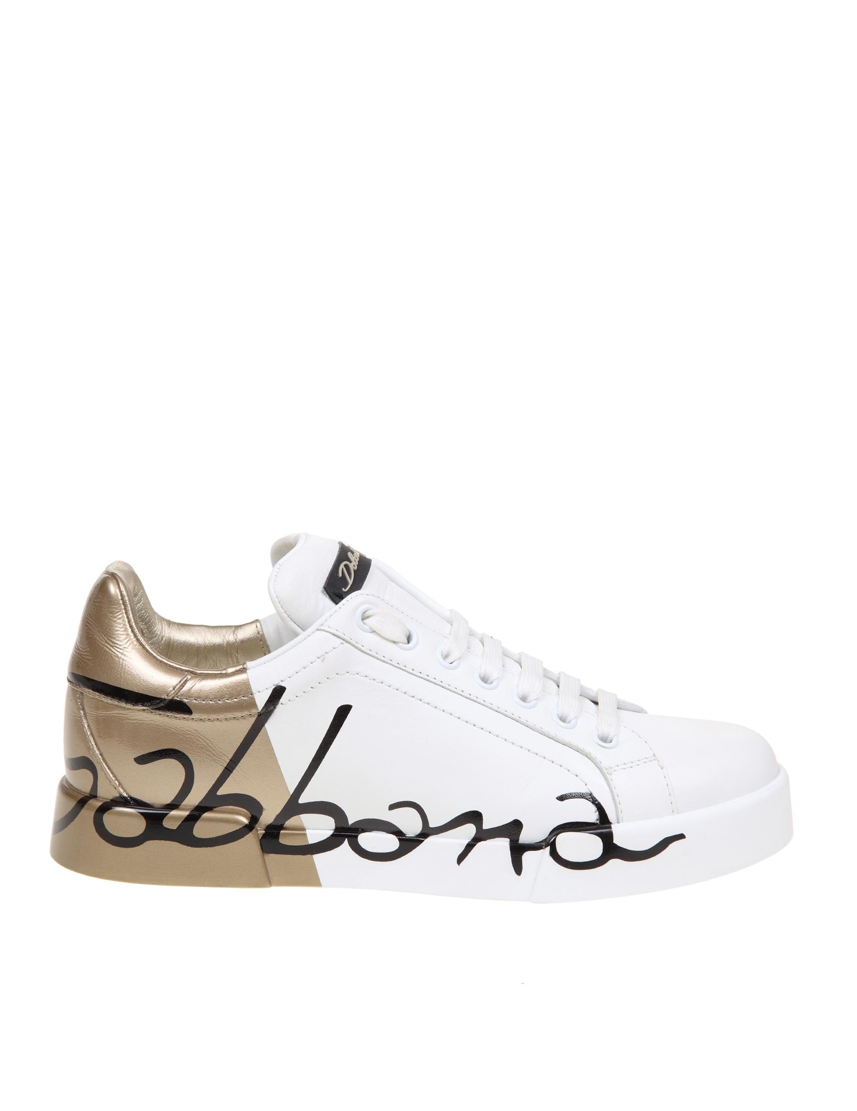 Dolce & Gabbana DOLCE & GABBANA PORTOFINO SNEAKERS IN WHITE AND GOLD LEATHER