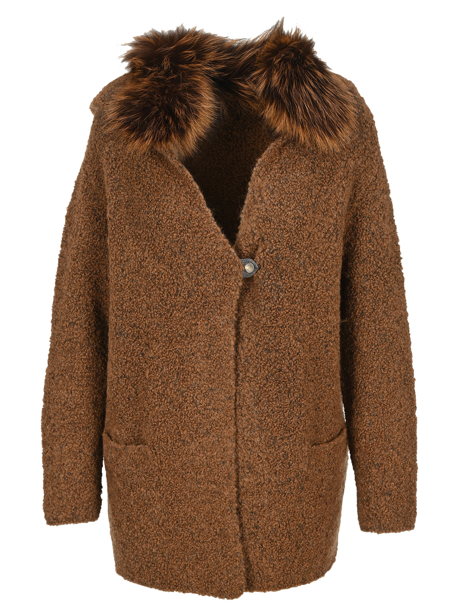 Fabiana Filippi FUR COLLAR CARDIGAN