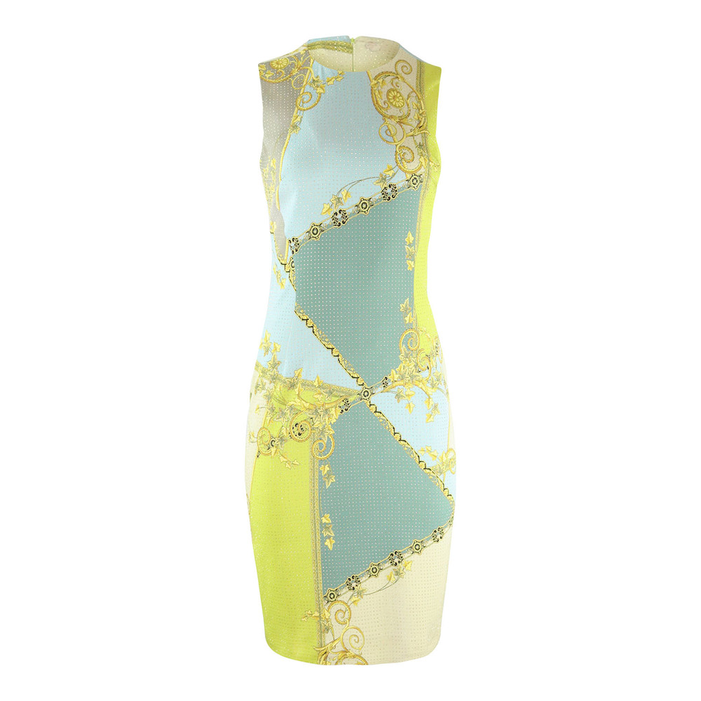 Versace Collection Blue and Lime Print Dress with Studs