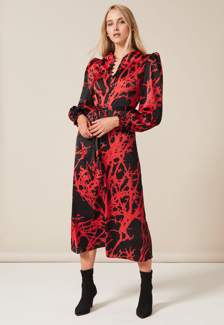 TRUDY Midaxi Dress with high neck and button down detail in Red Tree
