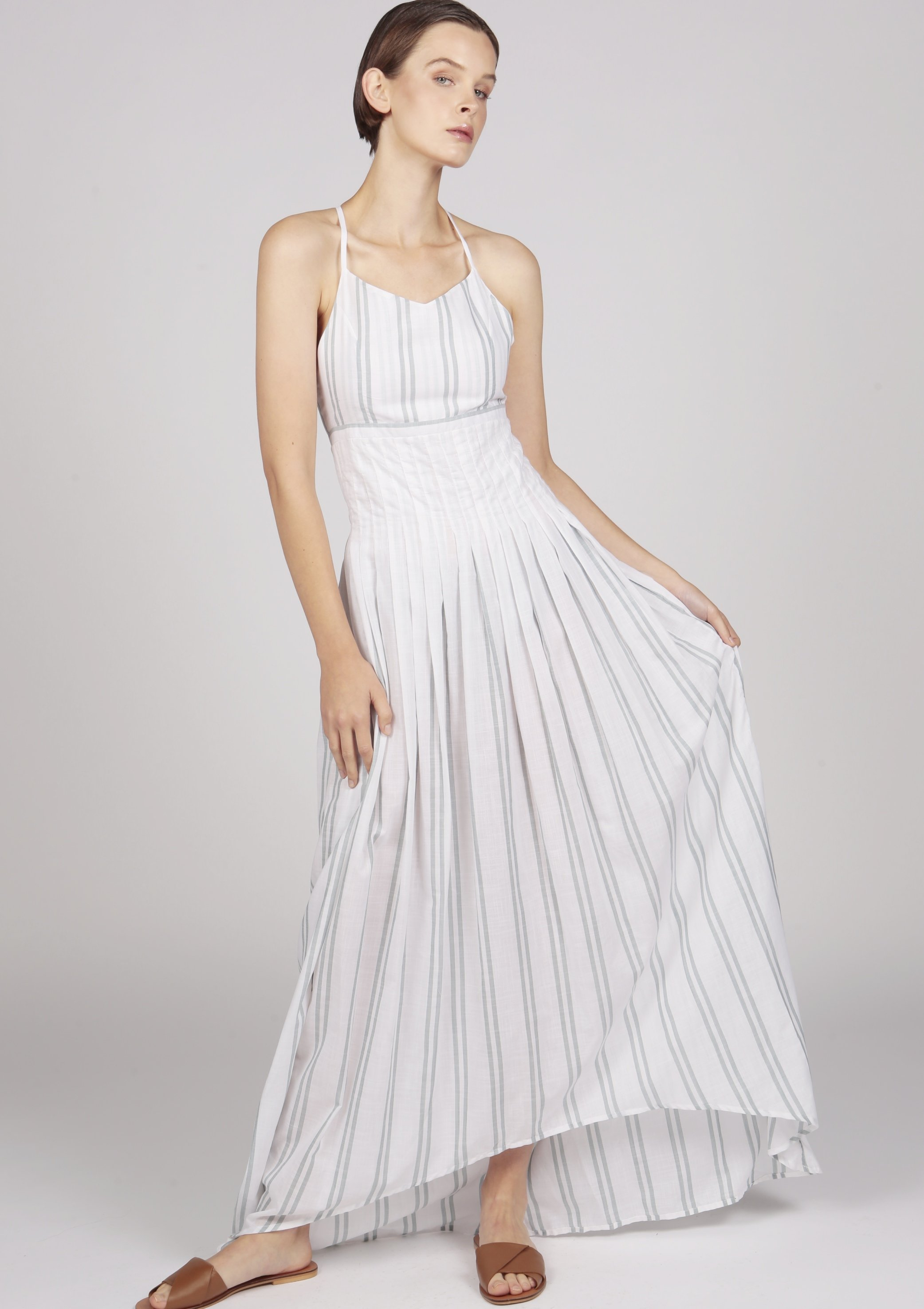 MARGUERITE white striped pleated dip-hem maxi cocktail dress