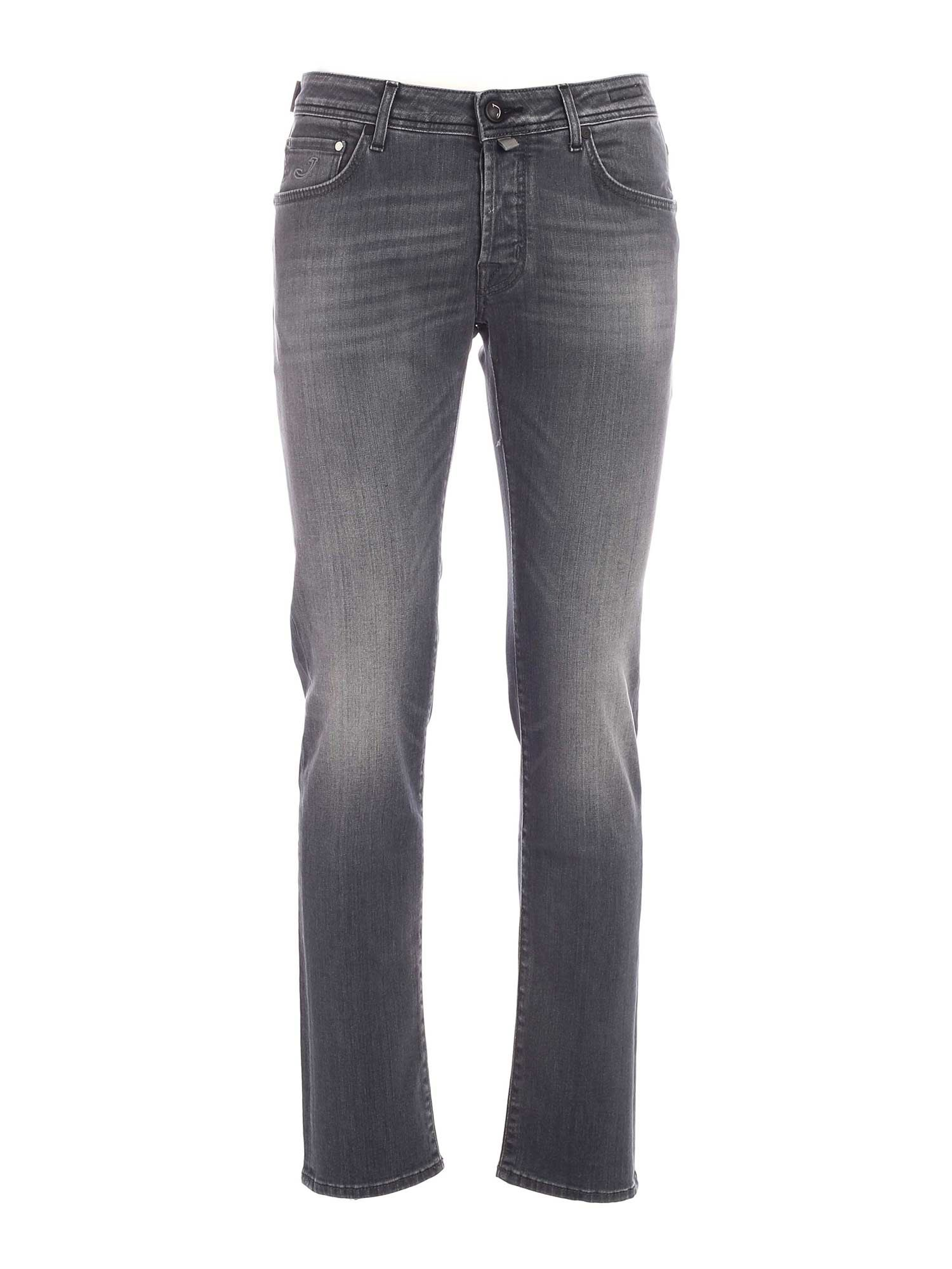 Jacob Cohen Black Logo Faded Jeans In Grey
