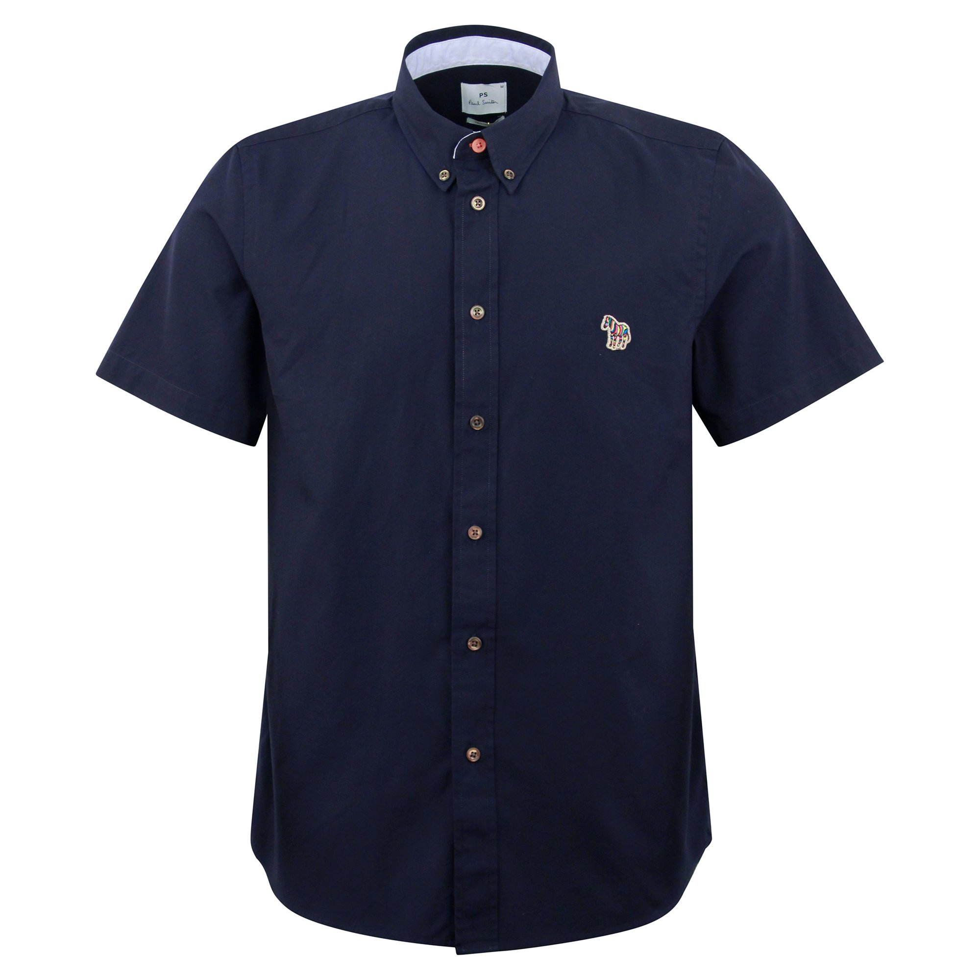 Ps By Paul Smith Cottons SS TAILORED FIT ZEBRA BADGE SHIRT NAVY