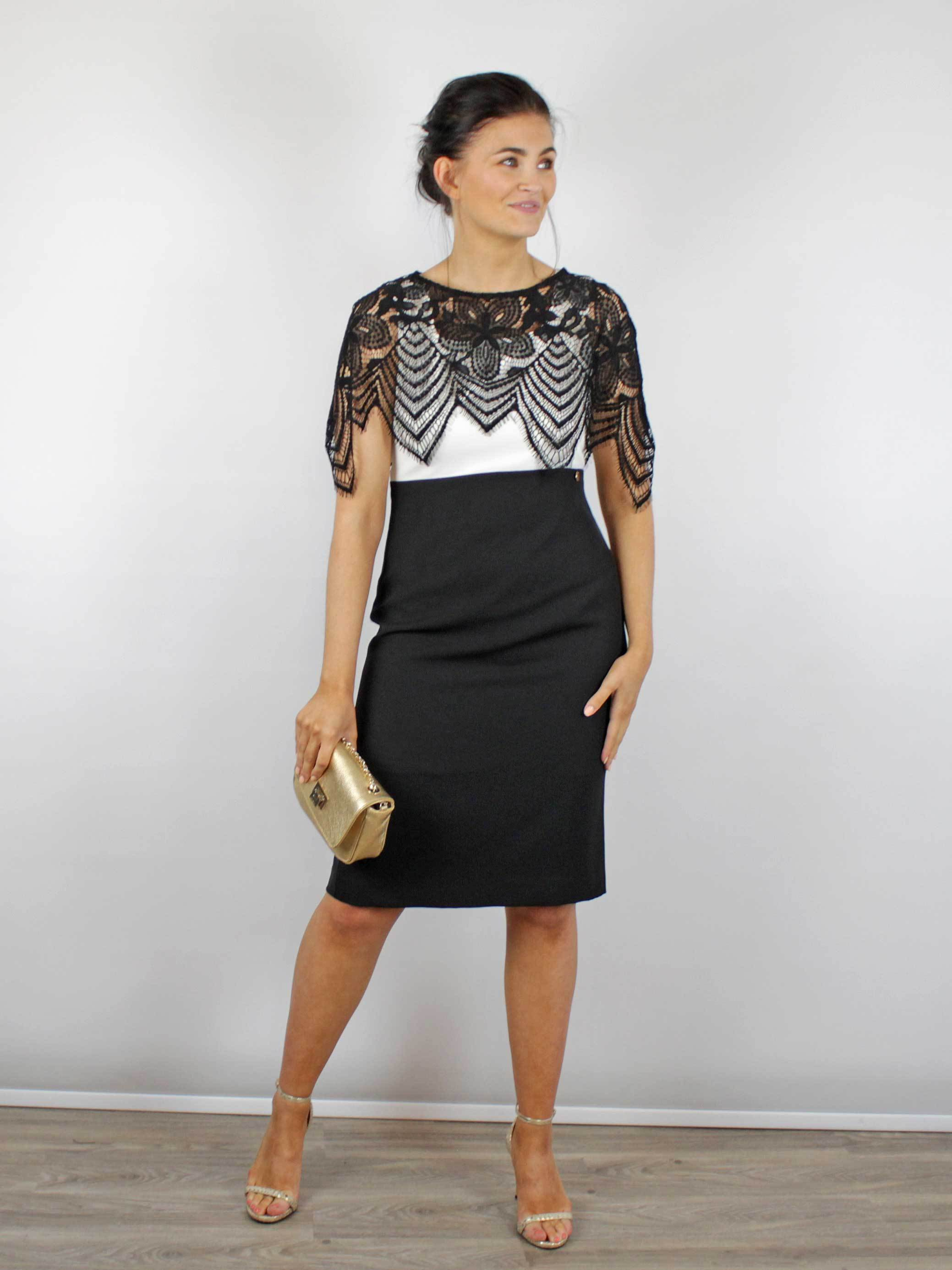 Kate Cooper Lace Overlay Dress Black & Cream