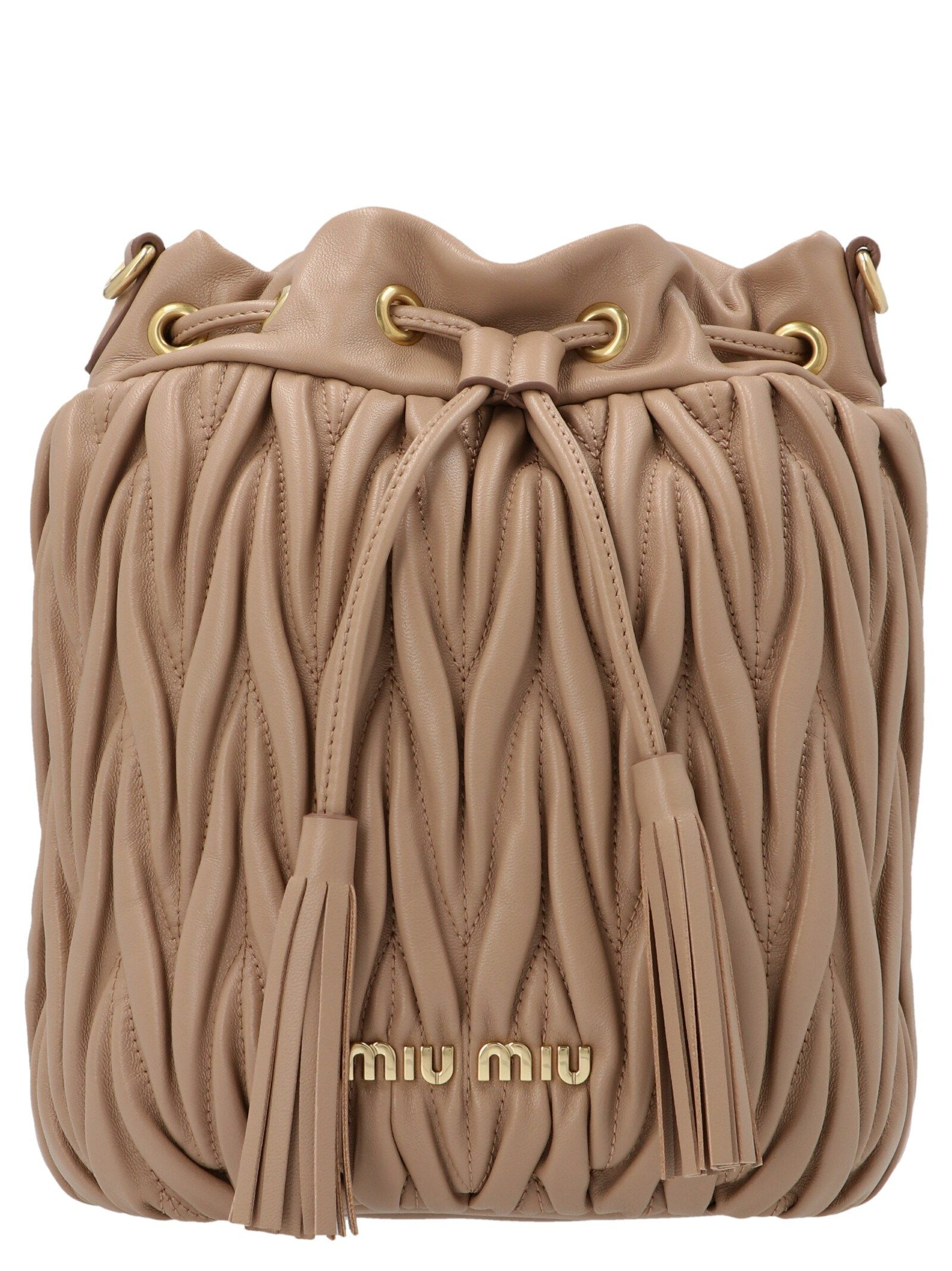 Miu Miu MIU MIU WOMEN'S 5BE014N88F0770 BEIGE OTHER MATERIALS SHOULDER BAG