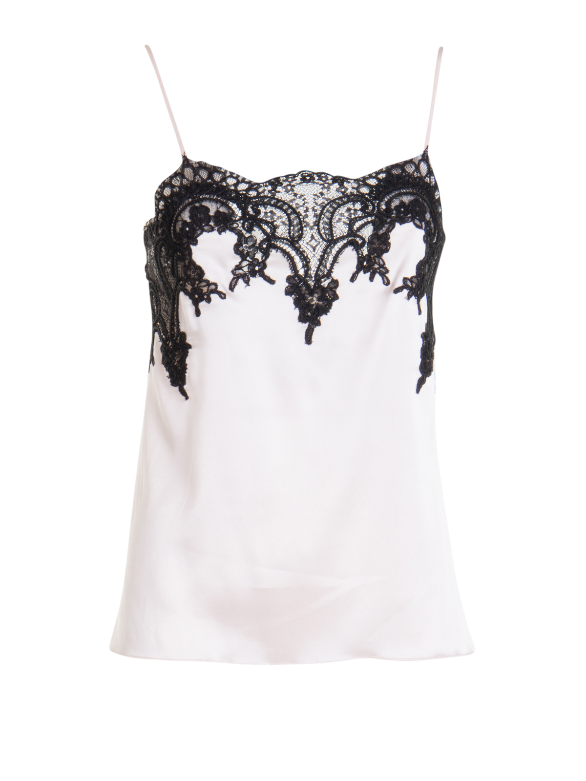 Blumarine SATIN TOP WITH LACE