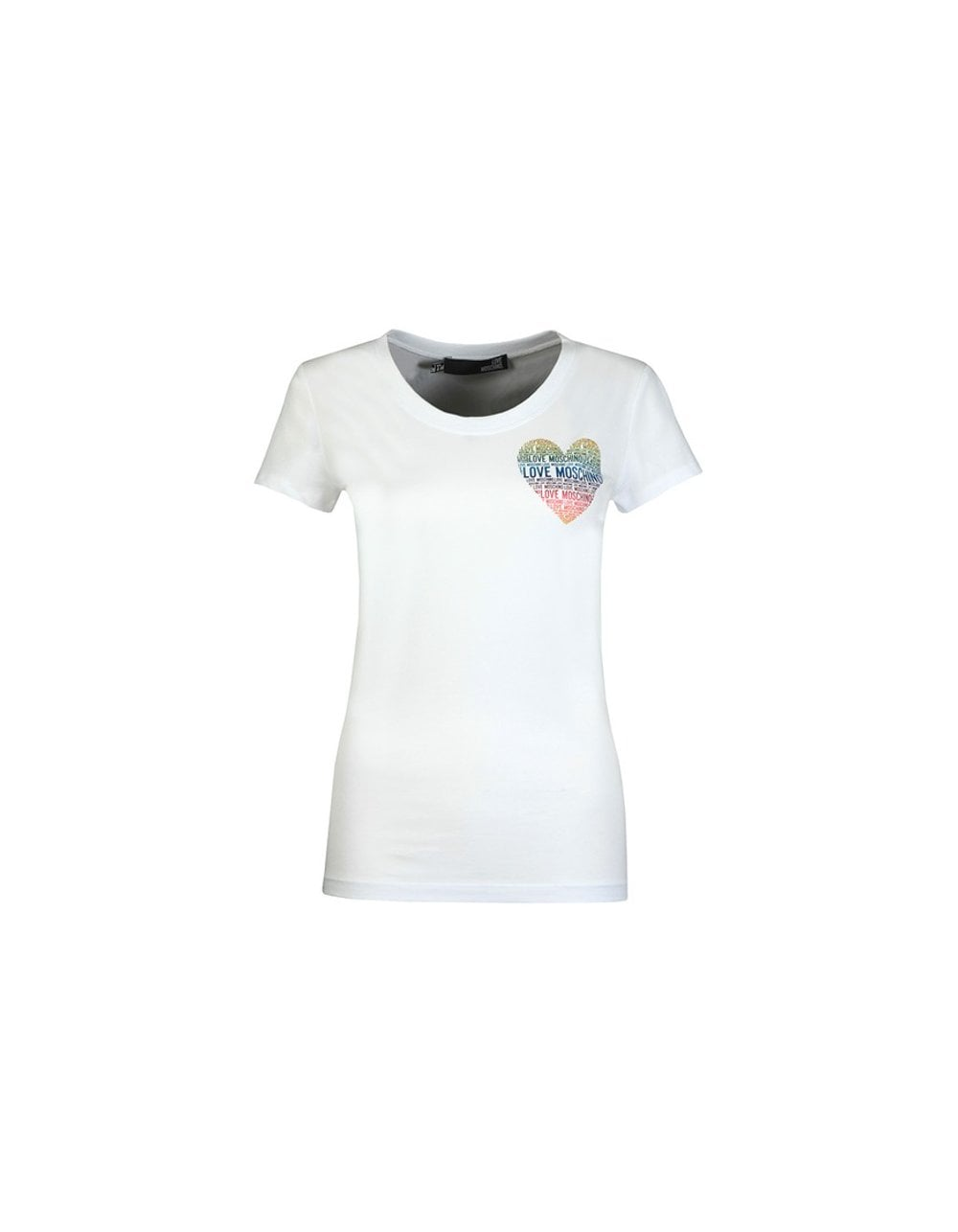 Love Moschino RAINBOW HEART TEE COLOUR: GREY