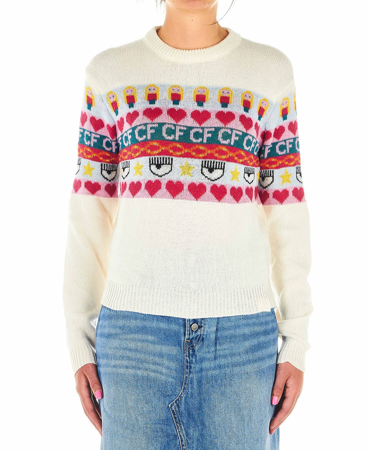 Chiara Ferragni SWEATER WITH KNITTED MOTIF