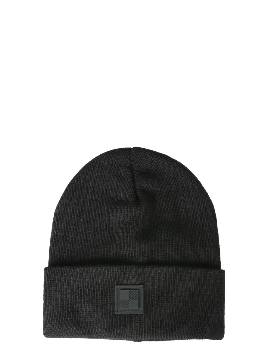 Woolrich Logo Beanie Hat Rib Hat Black Virgin Wool Man