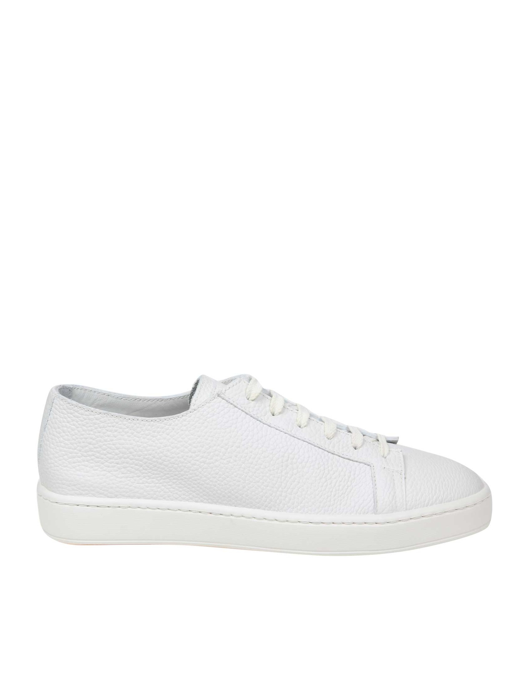Santoni SNEAKERS LACE-UP IN WHITE LEATHER
