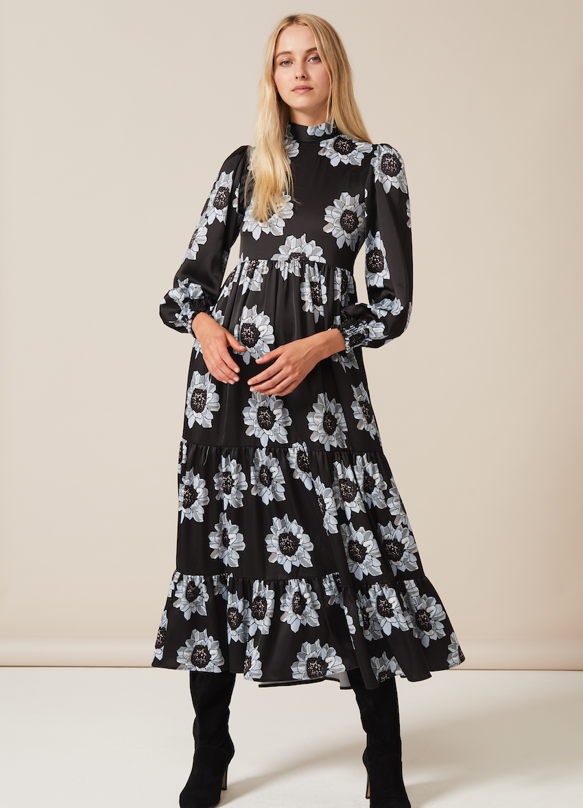 BETTY Dress with puffed long sleeve and high neck in Blue and Black Poppy