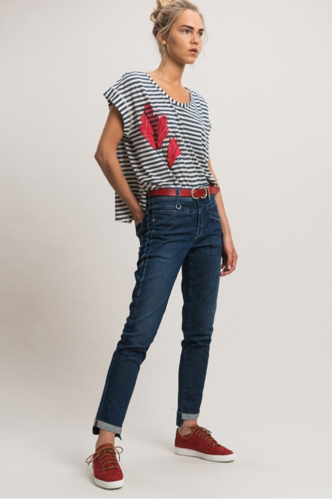 High HIGH OUTSTANDING STRIPE TOP WITH FLOWER